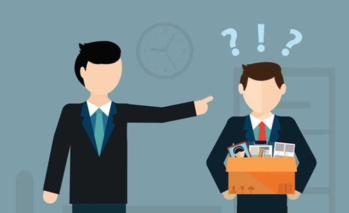 Layoff concept. Boss dismissed employee. Flat vector illustration